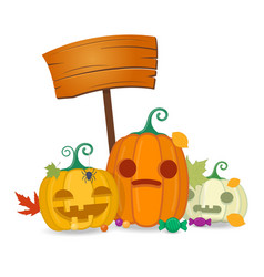 halloween pumpkins with wooden board sweets and vector image