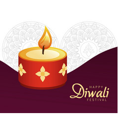 Happy diwali celebration with red candle vector