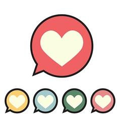 Heart in speech bubble icon vector