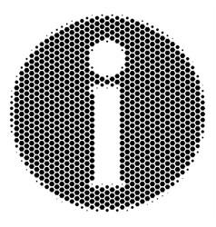 Hexagon halftone info icon vector