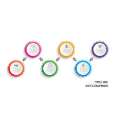 infographics timeline circle paper with 6 data vector image