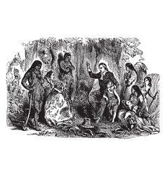 John eliot preaching to the indians vintage vector