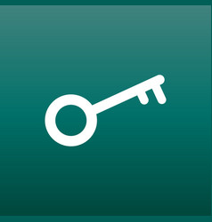 key icon in flat style on green background unlock vector image