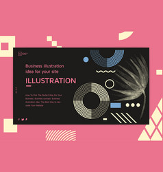 Landing page template with shapes text vector