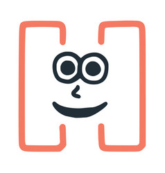 Letter h happy eccentric smiling character smiley vector