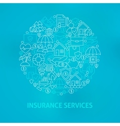 Line Insurance Services Icons Circle vector