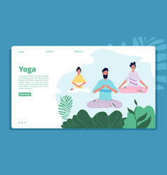 meditation landing characters relax pose nature vector image