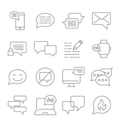 messages and chats line icons set dialog and vector image
