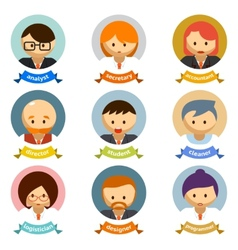 Office Cartoon Character Avatars with Ribbons vector