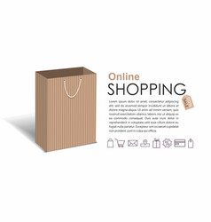 online shopping with ccraft shopping bag vector image