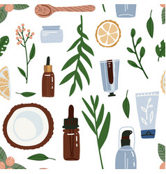 organic cosmetic seamless pattern with bottles vector image