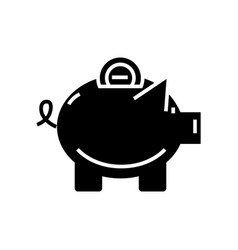 piggy icon black sign on vector image