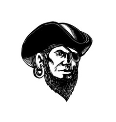pirate wearing eye patch scratchboard vector image