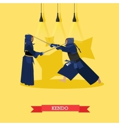 poster of martial arts Kendo Fighters in vector image