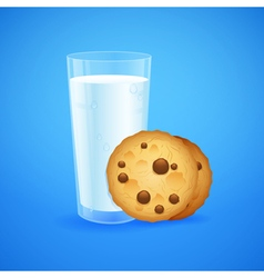 Realistic set glass milk and cookies vector
