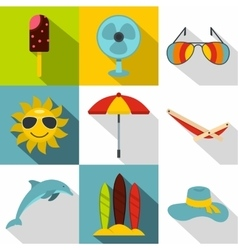 Rest on sea icons set flat style vector image