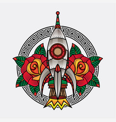 rocket traditional tattoo vector image