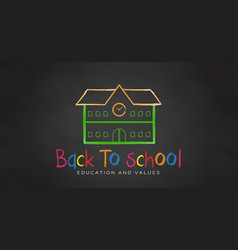 school in chalk black board back to school vector image