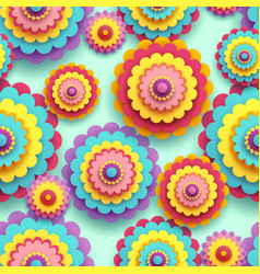 seamless pattern 3d colorful flower chrysanthemum vector image