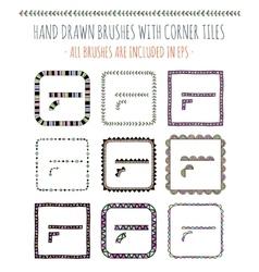 set of nine hand drawn brushes vector image