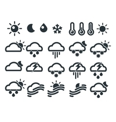Set of weather widget icons Meteorology concept vector