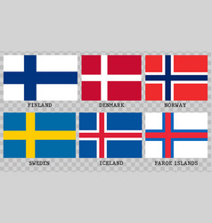 simple flags of scandinavia vector image