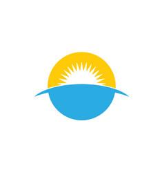 Simple sea sunrise horizon symbol logo vector