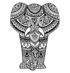 stylized head of an elephant ornamental portrait vector image