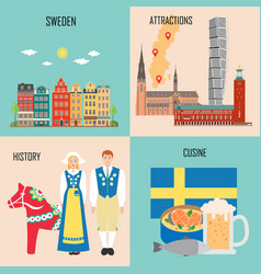 sweden set with traditional cuisine history and vector image