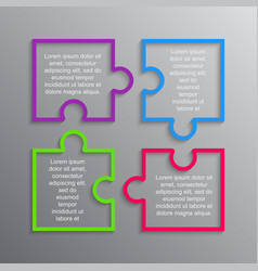 The puzzle infographics square four steps puzzle vector