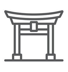 Torii gate line icon japan and architecture vector