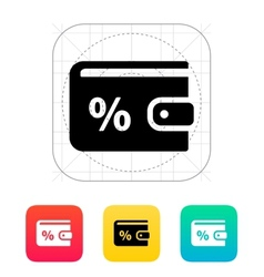 Wallet with percentage icon vector image