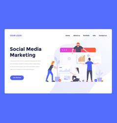 web design flat modern template - social media vector image