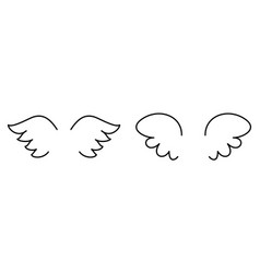 wings set with angel or bird wing icon isolated vector image