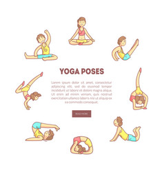Yoga poses banner landing page template with vector