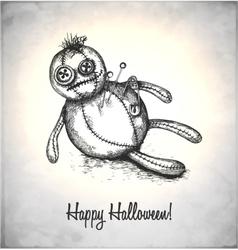 Spooky voodoo doll in a sketch style vector image vector image