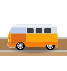 Cartoon cheerful minibus which travels on the vector image vector image