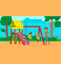 cartoon mom with kids in the city park vector image