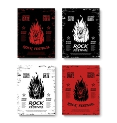 Set of four grunge rock festival posters vector