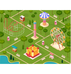 amusement park isometric seamless pattern vector image vector image