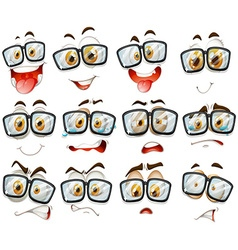 Facial expression with glasses vector image vector image