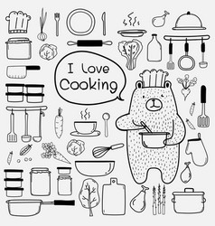 line hand drawn doodle cooking set vector image vector image
