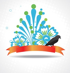 silhouette of bird with beautiful artwork vector image