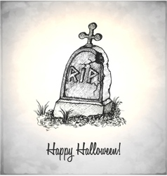 Tombstone in a sketch style vector image vector image