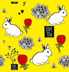 very cute seamless pattern with white rabbits and vector image vector image