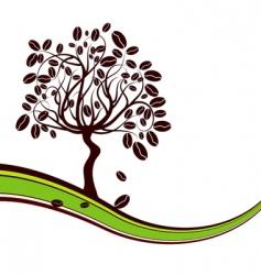 coffee tree background vector vector image vector image