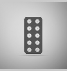 pills in blister pack icon on grey background vector image