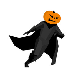running pumpkin man isolated on white background vector image