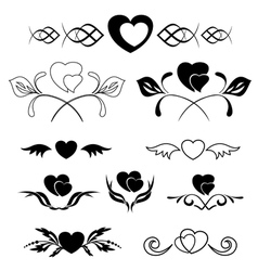 set of elements - heart and flora vector image vector image