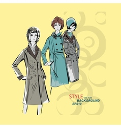 sketch girls in fashion clothes eps vector image vector image